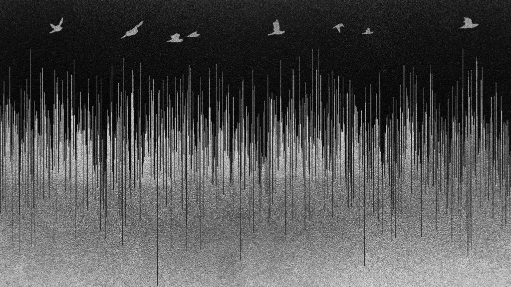 Ääniaaltoja mustaa taustaa vasten.