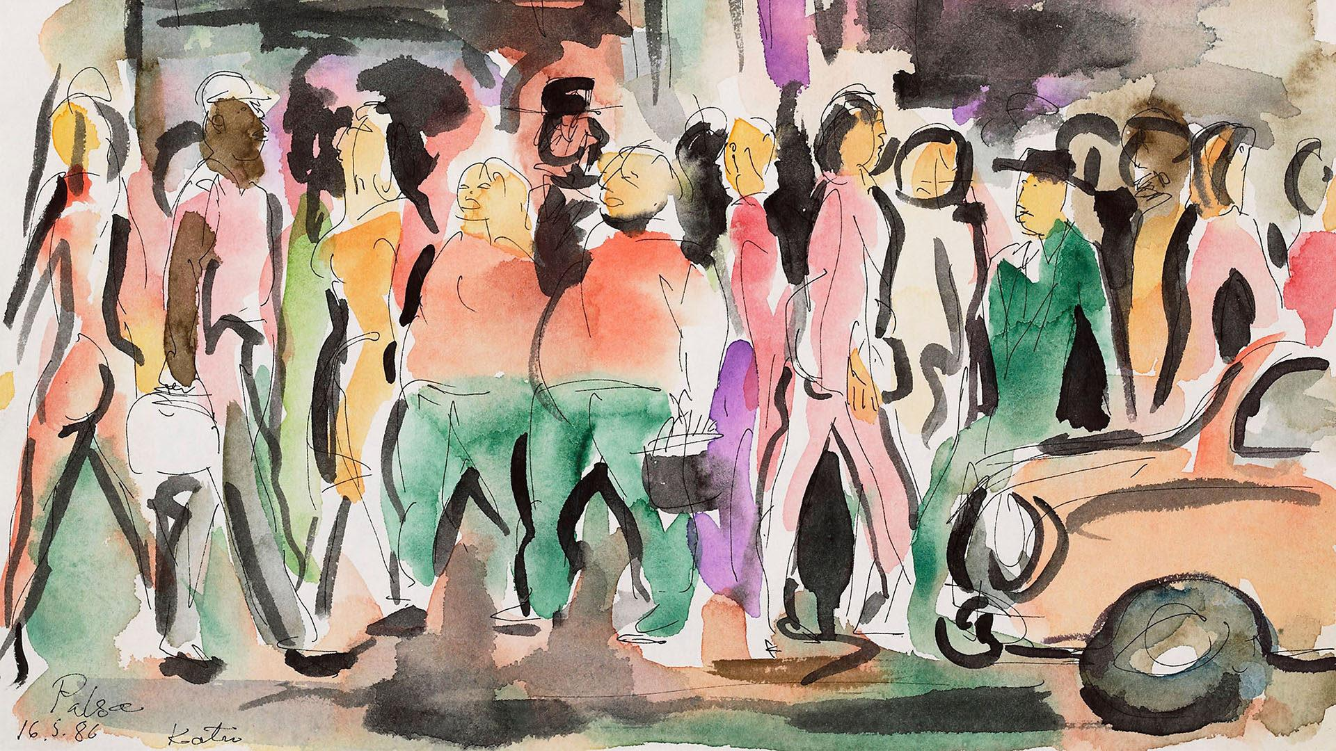 Kalervo Palsa, Katu- maalauksessa ihmisvilinää kadulla.