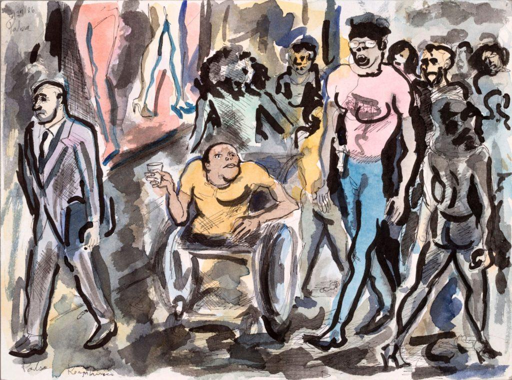Kalervo Palsan maalauksessa pyörätuolissa oleva ihminen kerää ihmisvilinässä.