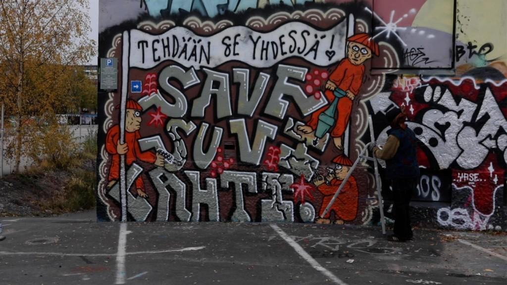 Save Suvilahti -graffiti.