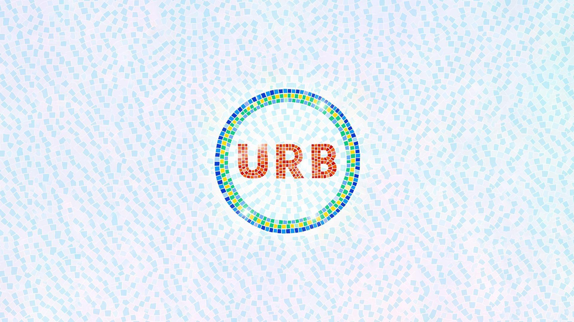 URB21 -festivaalin logo. URB-teksti kirjoitettu punaisilla mosaaikkikuvioilla.